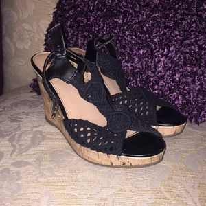 Black wedges with cork bottoms good condition